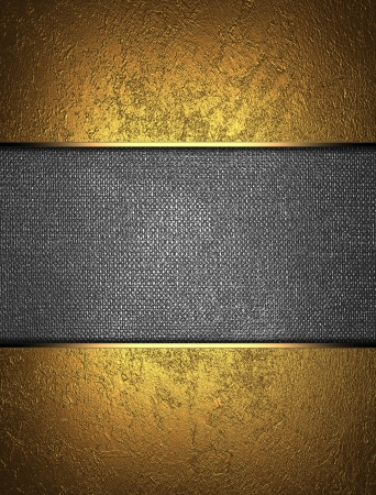 gold textured background: The template for the inscription  Beautiful gold background with a metal nameplate for writing  Stock Photo