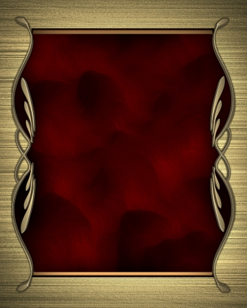 Gold background with a red nameplate with gold pattern Stock Photo - 15402125