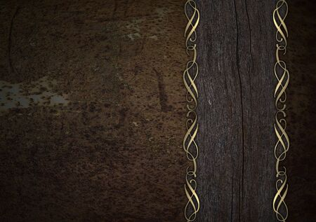 nameplate: Rusty background with a wooden nameplate Stock Photo