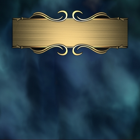 plaque: Blue background with gold texture stripe layout