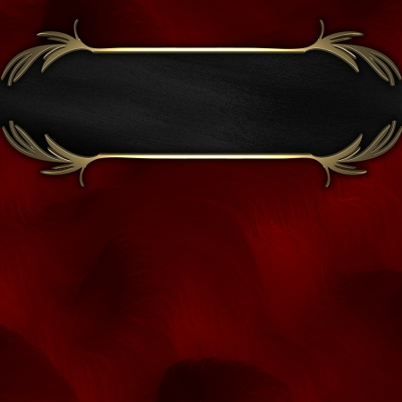 Gold pattern on a black nameplate on a red background