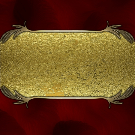 detail invitation: Gold nameplate on a red background Stock Photo