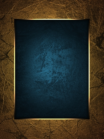 The template for the inscription  Beautiful gold background with a blue nameplate for writing