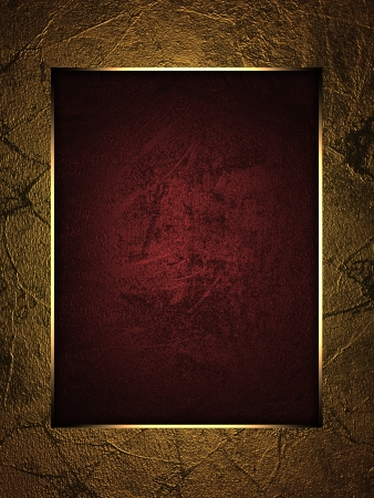 The template for the inscription  Beautiful gold background with a red nameplate for writing Stock Photo - 15406313