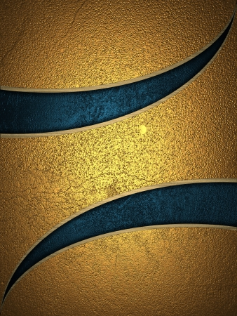 gold texture: The template for the inscription  Golden background with blue cut