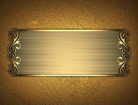 The template for the inscription  Gold Background with gold nameplate  photo