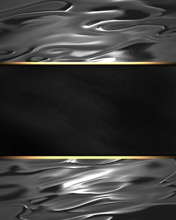 gold border: The template for the inscription  Beautiful metal background with a black nameplate for writing