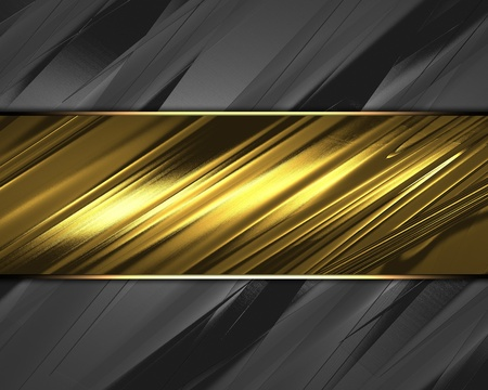The template for the inscription  Metal Background with beautiful gold nameplate   metal background Stock Photo - 15407735
