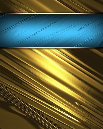 The template for the inscription  Beautiful gold Background with beautiful blue nameplate  photo