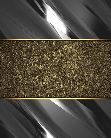 nameplate: The template for the inscription  Metal Background with beautiful gold nameplate  Stock Photo