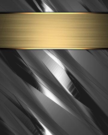 The template for the inscription  Metal Background with gold name plate Stock Photo - 15407741