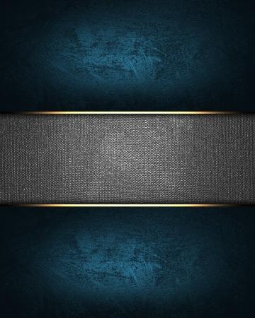 navidad elegante: La plantilla para la inscripci�n de fondo azul con una placa de metal Foto de archivo