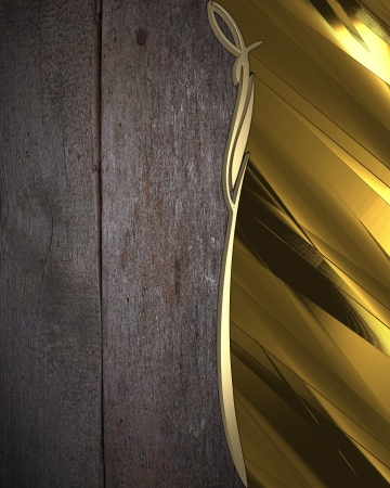 The template for the inscription  Wooden abstract background with gold nameplate  photo