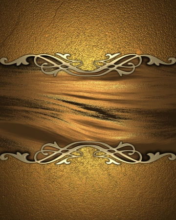 The template for the inscription  Beautiful gold background with a gold nameplate for writing Stock Photo - 15903567