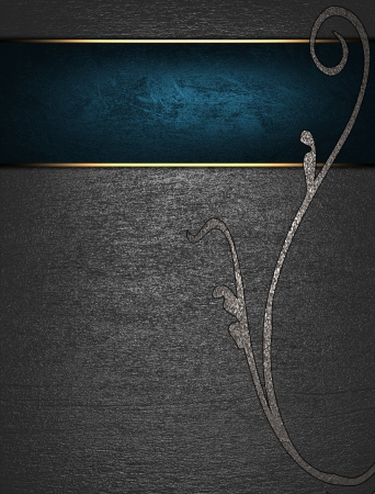 The template for the inscription  Metal Background with blue nameplate for writing, and an iron flower  photo
