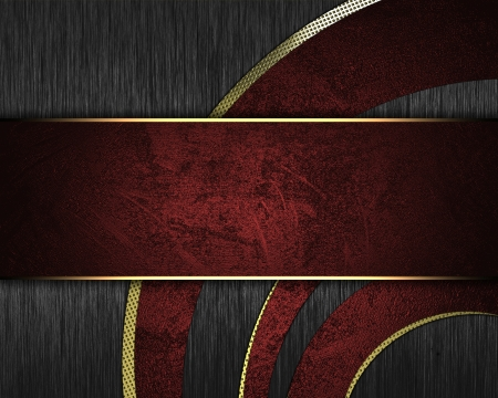 The template for the inscription  Metal Background with abstract red pattern and red nameplate  Archivio Fotografico