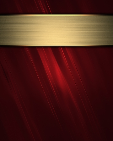 classy background: The template for the inscription  Red Background with gold nameplate for writing  Stock Photo