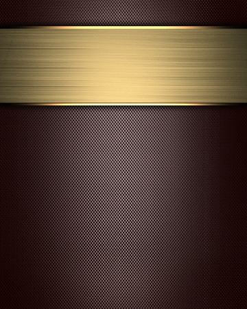The template for the inscription  Brown Background to the point with gold name plate for writing Stock Photo - 16146673