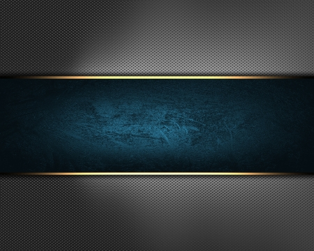The template for the inscription  Beautiful metal Background with blue nameplate for writing Stock Photo - 16146486