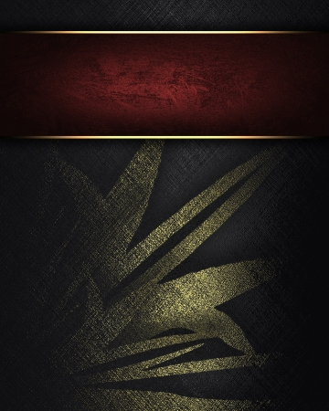 The template for the inscription  Black background with gold flower and with a red nameplate Stock Photo - 16146496
