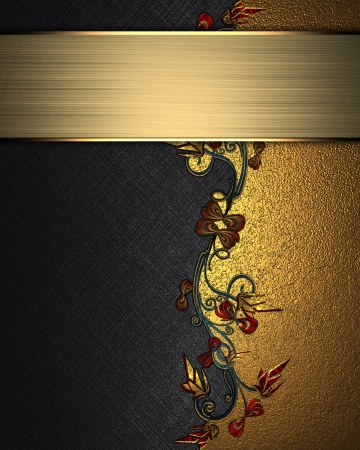 The template for the inscription  Beautiful black Background with abstract plant pattern and gold nameplate for writing Stock Photo - 16146607