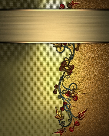The template for the inscription  Beautiful gold Background with abstract plant pattern and gold nameplate for writing  photo