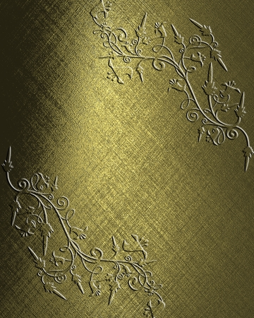 The template for the inscription  Beautiful gold Background with abstract plant pattern