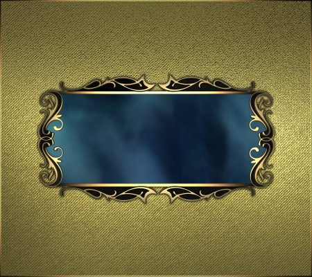 The template for the inscription  Gold Background and gold name plate with pattern at edges   photo