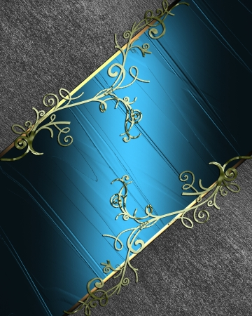 The template for the inscription  Black background with gold flower and with a blue nameplate