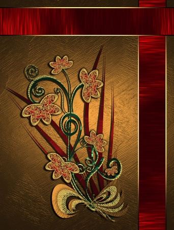 The template for the inscription  Beautiful gold Background with red ribbons and floral pattern  Template greeting card  photo
