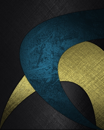 The template for the inscription  Black background with abstract patterns of blue and gold color Stock Photo - 16236194