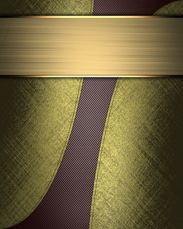 The template for the inscription  Abstract brown Background with gold nameplate for writing  Gold edges   photo