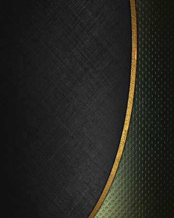 classy background: The template for the inscription  Black background with abstract green texture separated by a gold stripe