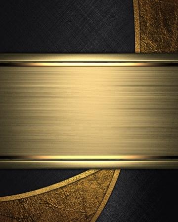 �gold: La plantilla para la inscripci�n Resumen fondo negro con inserciones de oro y placa para la escritura