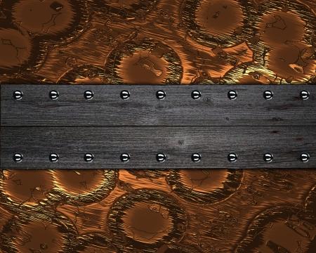 De template voor de inscriptie Abstract koper Achtergrond met houten naambordjes aan de randen met klinknagels