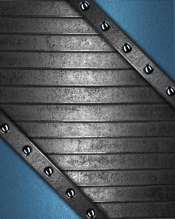 The template for the inscription  Blue background with iron nameplate for writing with rivets on edges