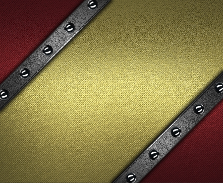 The template for the inscription  Red background with gold nameplate for writing with rivets on edges  photo