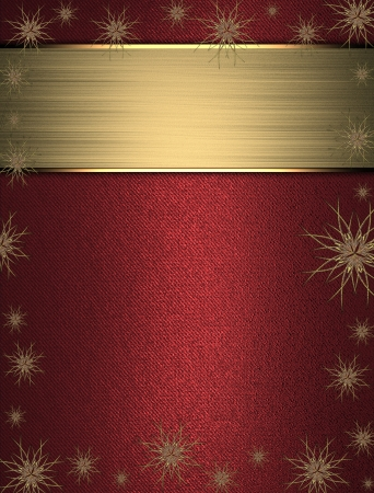 The template for the inscription  Beautiful Christmas red background with stars on the edges and name plate for writing  photo