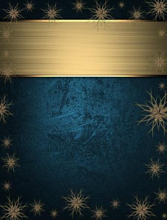 The template for the inscription  Beautiful Christmas blue background with stars on the edges and name plate for writing  photo