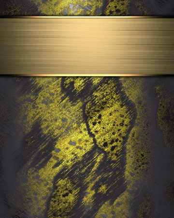 The template for the inscription  Shabby gold background with gold nameplate for writing Stock Photo - 16301453