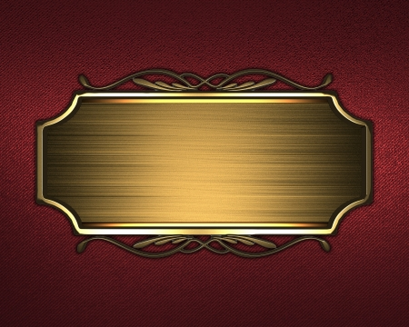 The template for the inscription  Beautiful red Background with gold nameplate and a pattern on the edge  photo