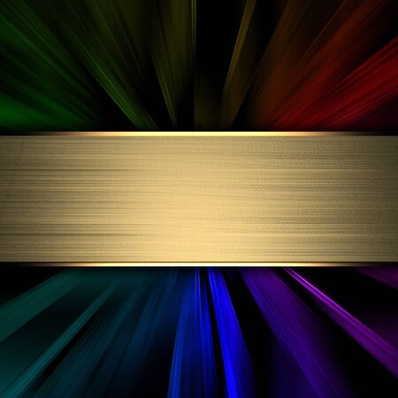 The template for the inscription  Abstract black background and a gold nameplate for writing Stock Photo - 16383411