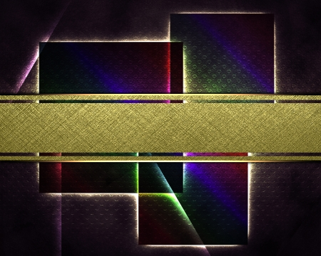 The template for the inscription  Abstract black background with squares and a gold nameplate for writing Stock Photo - 16383414