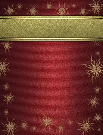 The template for the inscription  Beautiful red background with a gold nameplate decorated with stars  Template greeting card  photo