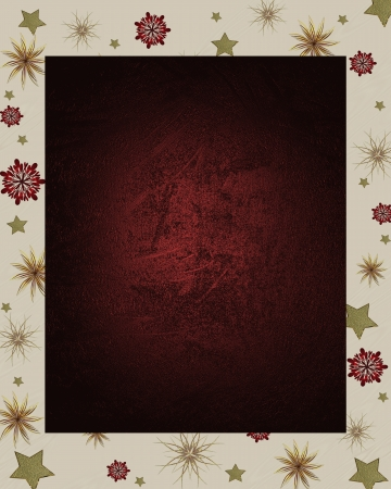 The template for the inscription  Red The Christmas frame on a white background, decorated beautiful stars  photo