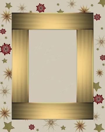 The template for the inscription  Beautiful white background with a gold ribbon on the edges decorated with stars and gold nameplate for writing  Template greeting card photo