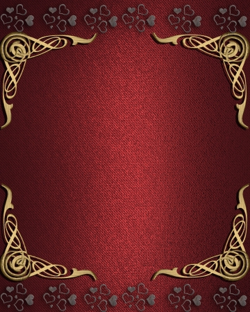 fancy border: The template for the inscription  Red Background with abstract pattern on the gold corners and heart on the edges  Stock Photo