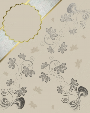 The template for the inscription  Cream background with pattern of flowers and white-gold name plate  Template greeting card photo