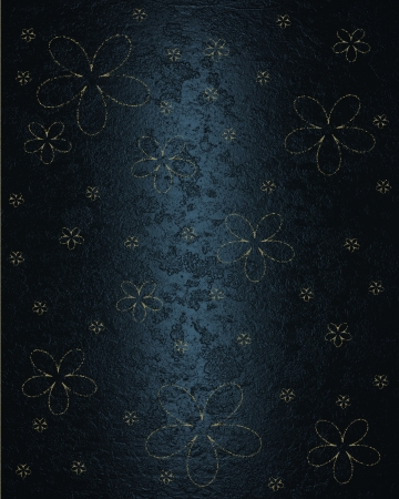 Abstract Blue Background With Nipped Gold Flowers Stock Photo