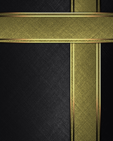 The template for the inscription  Black background with gold ribbons Archivio Fotografico